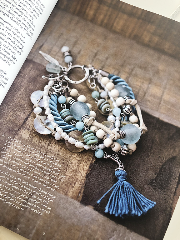 Aqua glass ocean theme bracelet
