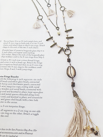 Natural shell & tassel layered necklace