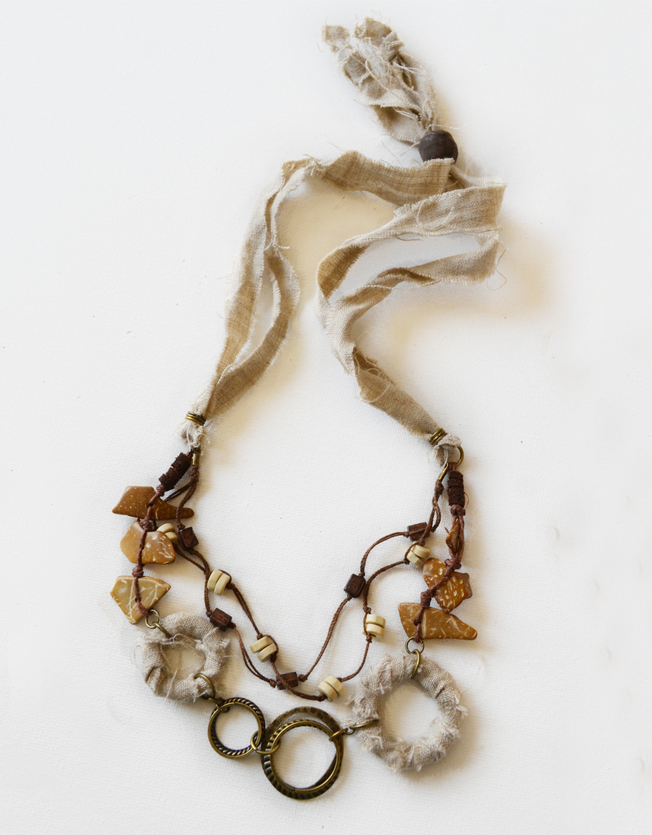 Earthy coconut bead layered necklace